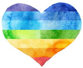 Watercolor textured rainbow heart