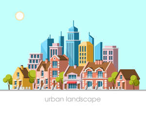 Modern city view. Traditional architecture landscape. Real estate. Flat vector illustration. 3d style.
