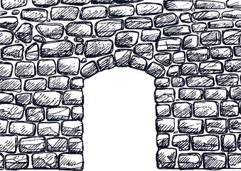 Stone wall with arched door with sketchy styled.