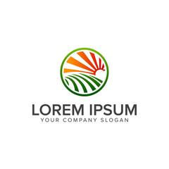 sun garden Landscape logo design concept template