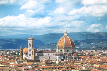 Italy, Florence. View of the Cathedral of Santa Maria del Fiore from Piazzale Michelangelo.