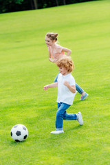 cute little brother and sister playing soccer on green grass in park