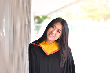 Asian cute women portrait graduation.
