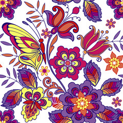 Multicolored seamless pattern with flowers and butterflies. Decorative ornament backdrop for fabric, textile, wrapping paper