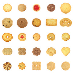 Foto op Aluminium Koekjes collection cookies set on white background
