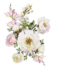 watercolor flowers isolated on white background. floral illustration in Pastel colors,   rose. Bouquet of flowers. Leaf and buds. Cute composition for wedding or greeting card