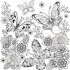 Collection of decorative butterflies with ornament for the anti stress coloring page