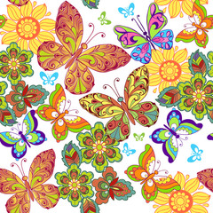 Summer Seamless pattern with colorful butterflies. Decorative ornament backdrop for fabric, textile, wrapping paper