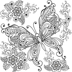 Hand drawn Decorative butterfly with florals for the anti stress coloring page