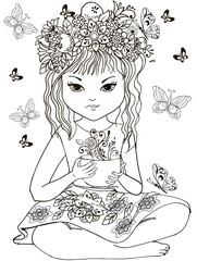 Girl in a wreath of flowers with a cup of flower tea for anti Stresa Coloring
