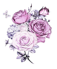 watercolor flowers. floral illustration in Pastel colors. Bouquet of flowers purple rose, Leaf and buds. Cute composition for wedding or  greeting card.  branch of flowers isolated on white background