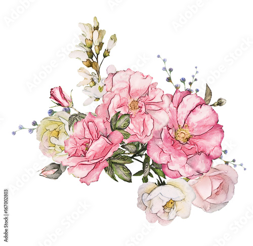 Watercolor flowers isolated on white background floral illustration watercolor flowers isolated on white background floral illustration in pastel colors pink rose mightylinksfo