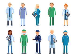 Medical personal. Male and female healthcare professionals. Vector illustrations in flat style