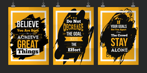 Motivation Business Quote set abot Goals. Poster Design Concept for wall on dark stain