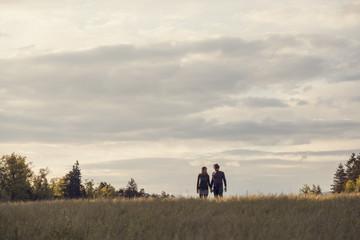 Couple holding hands in field below cloudy sky