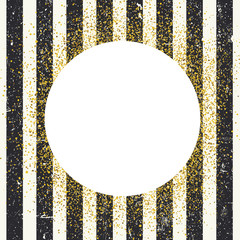 Invitation card design template. Vertical aged black lines seamless pattern and white circle shaped copyspace with golden chaotic dots.