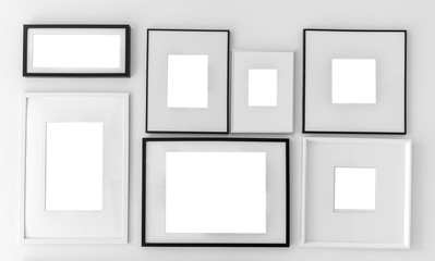 Blank picture frame template set on wall