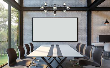 Loft style meeting room 3d rendering image.There are white brick wall,polished concrete floor and black steel structure.There are large windows look out to see the nature