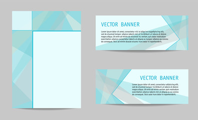 Cover A4 and two banners in geometric style. Aquamarine abstract backgrounds, layouts with segments for text. Technology templates for book, brochure, booklet, leaflet, advertising. Vector EPS10