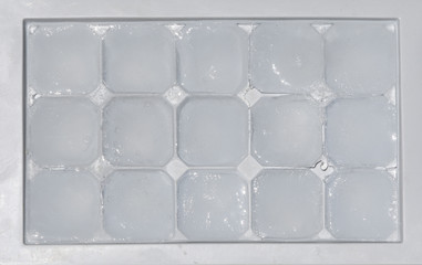 Ice cubes in a container