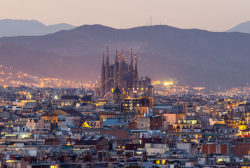 Garden Poster Barcelona Barcelona city and sagrada familia at dusk time