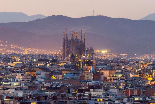 Barcelona city and sagrada familia at dusk time