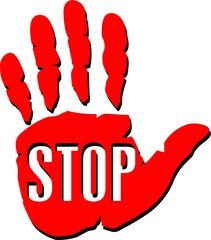 hand with superscription STOP