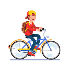Teen school boy cycling on bicycle with backpack