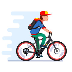 Teenager boy riding fast modern electric bicycle