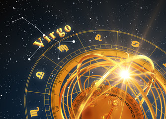 Zodiac Sign Virgo And Armillary Sphere On Blue Background