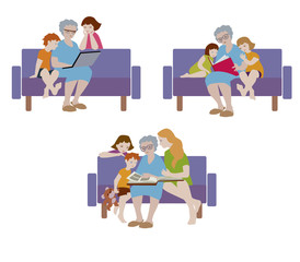 Vector illustration of grandmother and her grandchildren sitting on the couch in flat design.