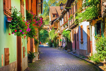 Fototapete - Floral traditional town Colmar with charming old streets in Alsace region. France