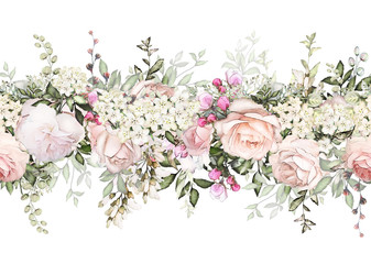 isolated Seamless border with pink flowers, leaves. vintage watercolor floral pattern with leaf and rose. Pastel color. Seamless floral rim,  band for cards, wedding or fabric. Fototapete