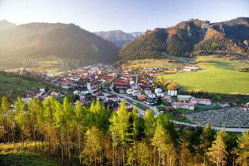 Sunrise over village Terchova, Slovakia