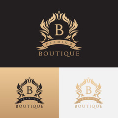 Premium boutique brand logo template. Vector symbol with crown and floral ornament. Logotype for uses in fashion spheres, hotel and restaurant business and jewelry industry.