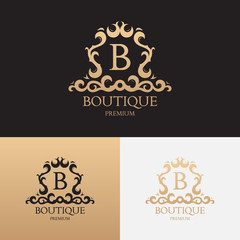 Logo template of luxury boutique brand. Vector symbol with floral ornament. Logotype for uses in fashion spheres, hotel and restaurant business and jewelry industry.