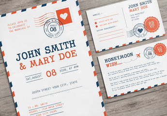 Airmail Postcard Wedding Invitation Set