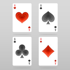 Vector set of four aces playing cards suits with paper art decoration.