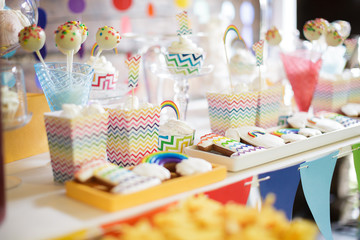 Bright colorful rainbow candy bar