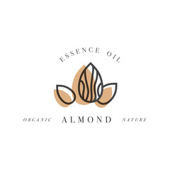Vector set of packaging design templates and emblems in linear style - beauty and cosmetics oils - almond