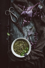 Purple Basil Flowers and Pesto