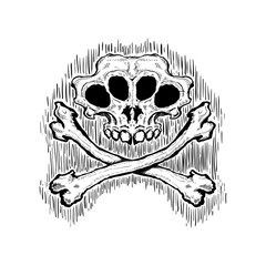Skull and crossbones. Vector graphic illustration