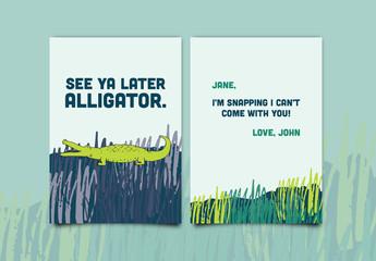 See Ya Later Alligator Greeting Card Layout 1