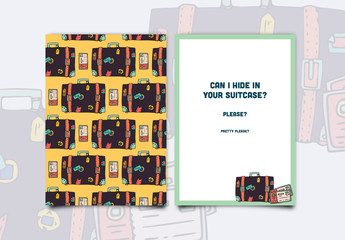 Stickered Suitcase Greeting Card Layout 1