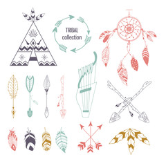Tribal collection of hand drawn elements in boho style. Feather, tipi and arrows. Vector illustration.