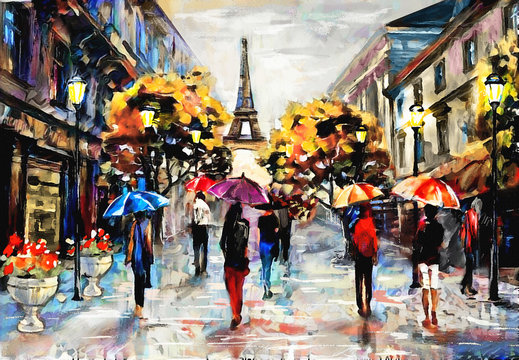oil painting on canvas, street view of Paris. Artwork. eiffel tower . people under a red, blue umbrella. Tree. France