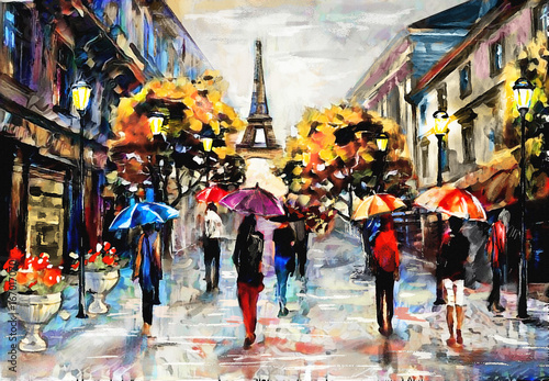 Quot Oil Painting On Canvas Street View Of Paris Artwork