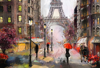 Fototapeta oil painting on canvas, street view of Paris. Artwork. eiffel tower . people under a red umbrella. Tree. France