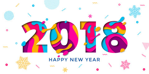 2018 Happy New Year greeting card snowflakes background vector paper text carving
