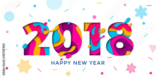 2018 happy new year greeting card snowflakes background vector paper 2018 happy new year greeting card snowflakes background vector paper text carving voltagebd Images